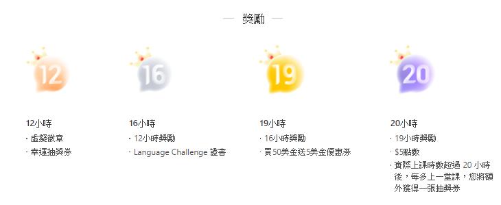 語言挑戰賽獎勵